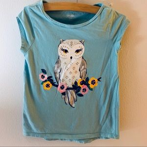 Gymboree Girls Graphic Owl Top Size 5-6